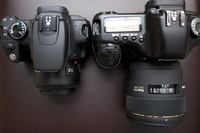 Canon Rebel with Canon 50mm F/1.8 on the left and Canon 5D with Sigma 85mm F/1.4 on the right