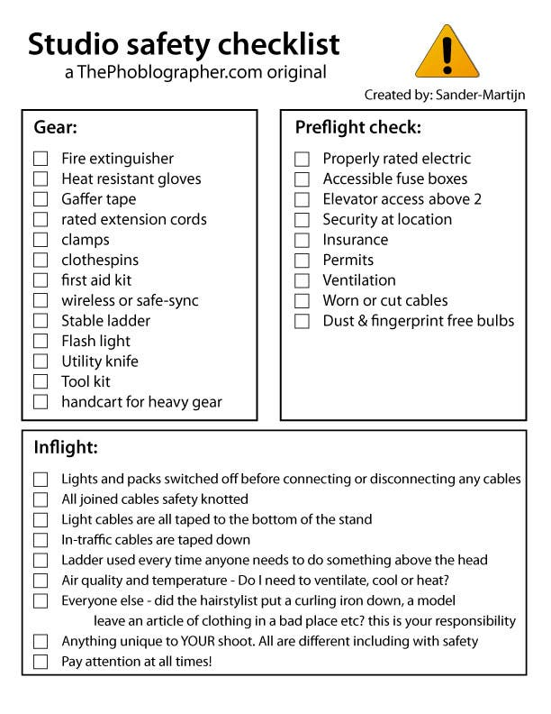 Studio Safety Checklist