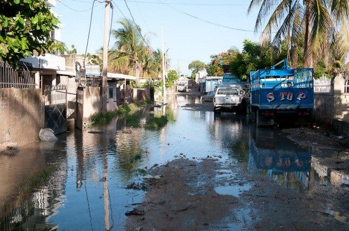 The flooded road of my house in St. Marc, Haiti