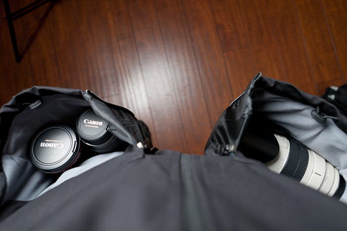 Top-down view of pockets full of lenses