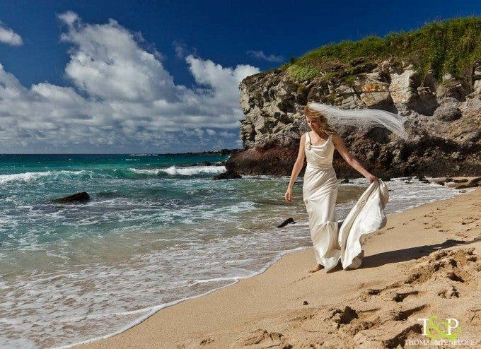 Bridal portrait on the beach in Maui