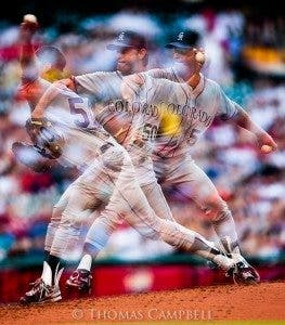 Multiple Exposure Mode on Colorado Rockies pitcher Jamie Moyer