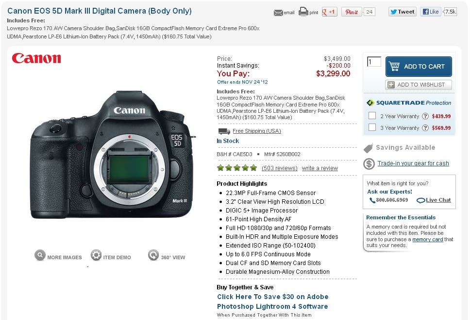Cheap Photo: Get a Bunch Of Stuff For Free With the Canon 5D Mk III With $200 Off