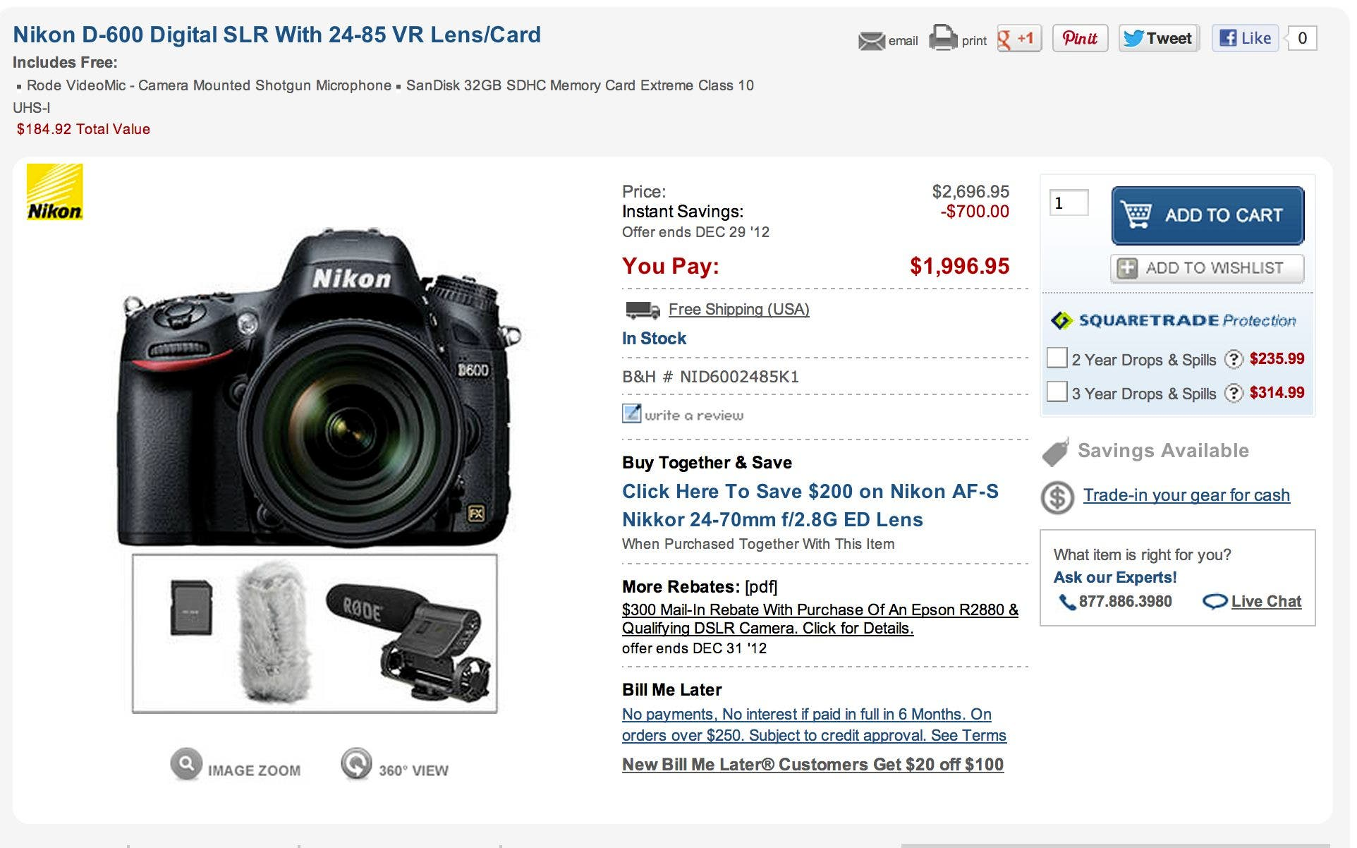Cheap Photo: Gifts for Christmas Part II (D600 Deals, Plus Canon Stuff)