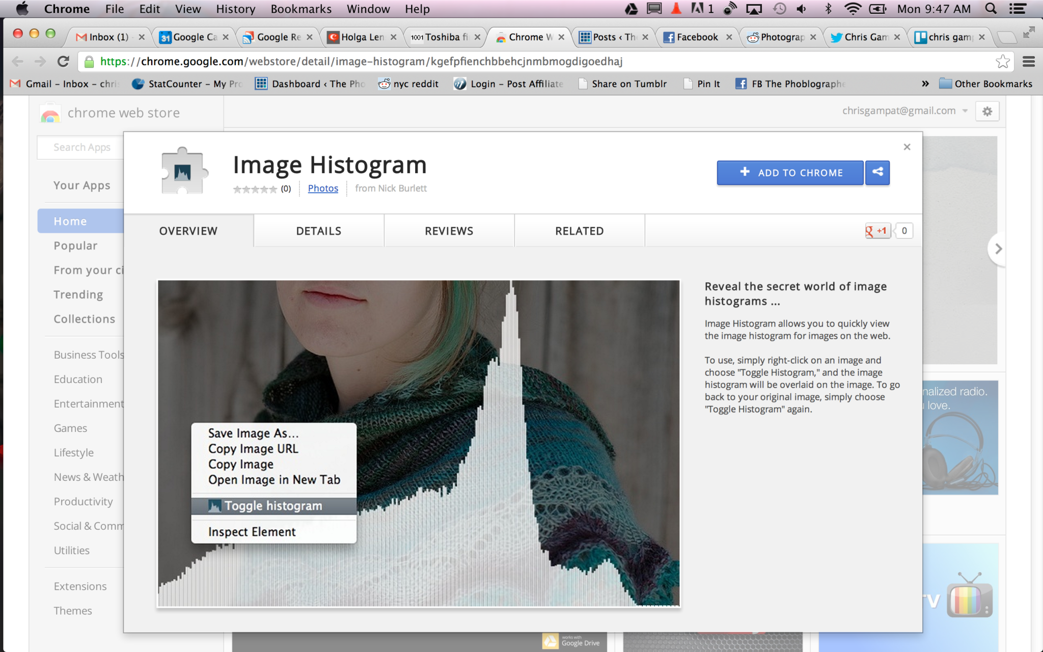 Google Chrome Adds Applet for You to See the Histogram of a Photo