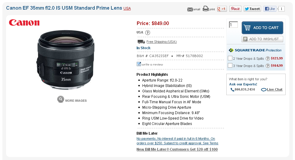The Canon 35mm f2 IS Just Came Into Stock at B&H Photo…That is All