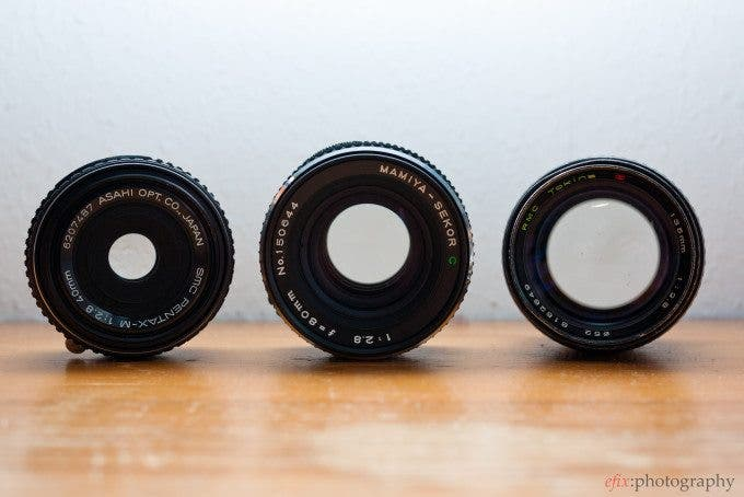 Three lenses with the same relative (f/2.8), but different physical aperture sizes due to their different focal lengths.