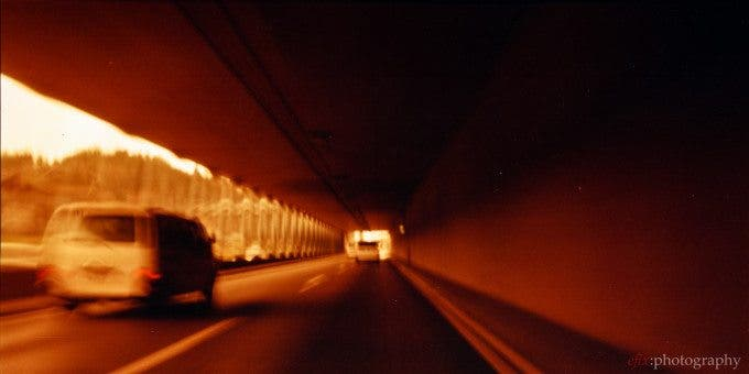 In the tunnel | Belair + Lomography Redscale