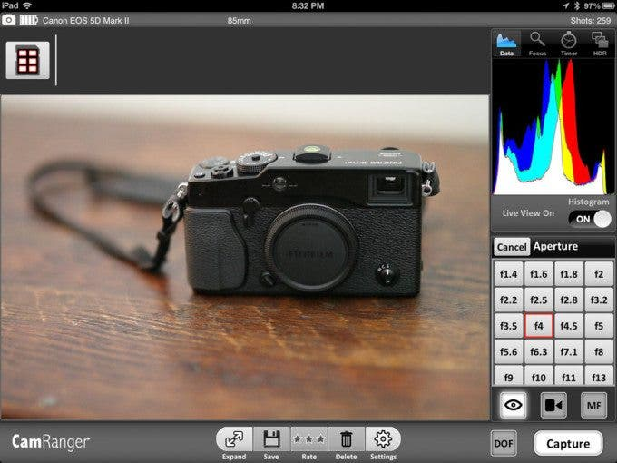 You can easily select any aperture for your lens from an onscreen button