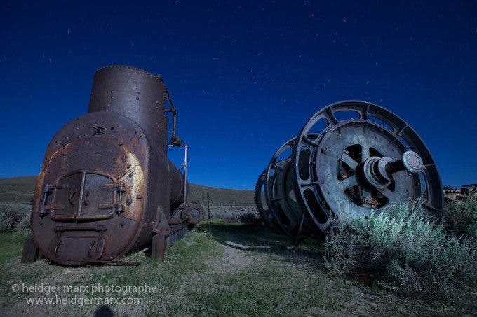 Night photography of old machinery at Bodie Ghost Town (used for stacking)