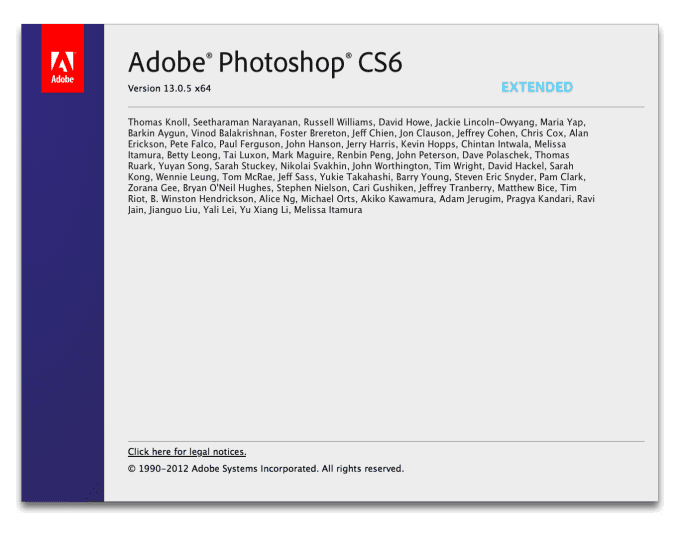 Adobe Photoshop CS6 13.0.5 for Macintosh Splash Screen