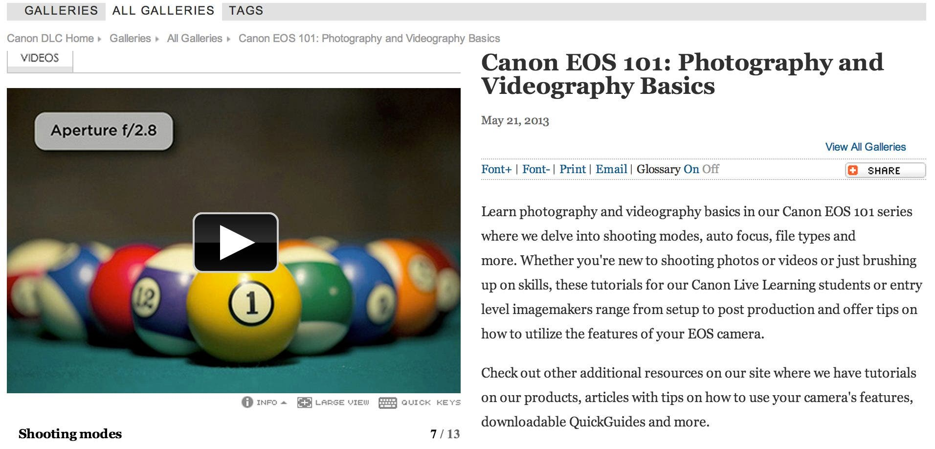 Canon Launches EOS 101 Video Series for the Newbie Photographer