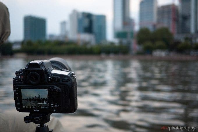 Nikon D800 pointed at the Frankfurt skyline