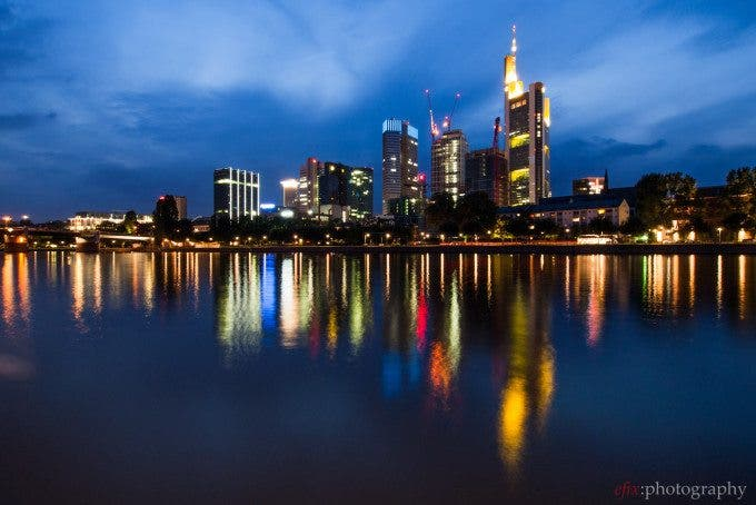 The skyline of Frankfurt, Germany during the blue hour
