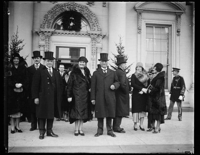 ew Years Day at the White House. Mr. Gann, Mrs. Gann (sister of the vice president) and Vice President Curtis, as they left the New Year's reception at the White House