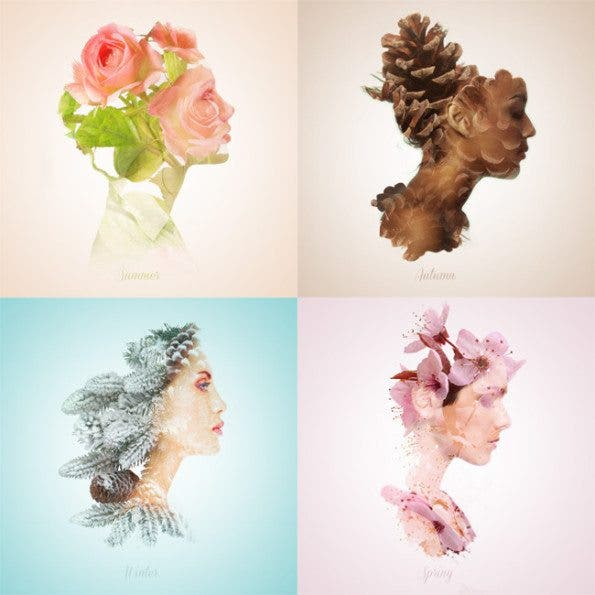 Delicate Seasonal Double Exposures by Alon Avissar