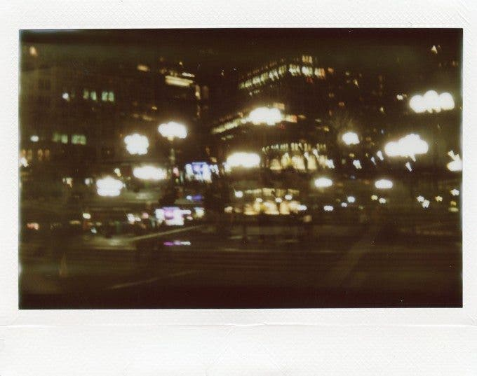 An accidental double exposure of Union Square.