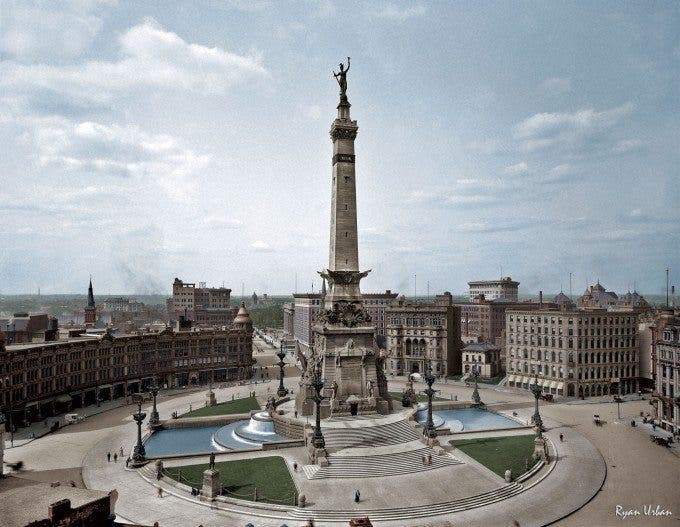 "Indianapolis, Indiana, circa 1907. ""Soldiers' and Sailors' Monument."" - Imgur"