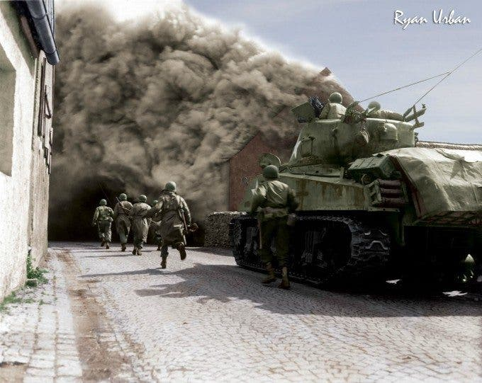 Soldiers of the 55th Armored Infantry Battalion and tank of the 22nd Tank Battalion, move through smoke filled street. Wernberg, - Imgur