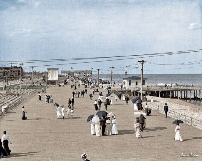 "The Jersey Shore circa 1905. ""Boardwalk at Asbury Park."" - Imgur"