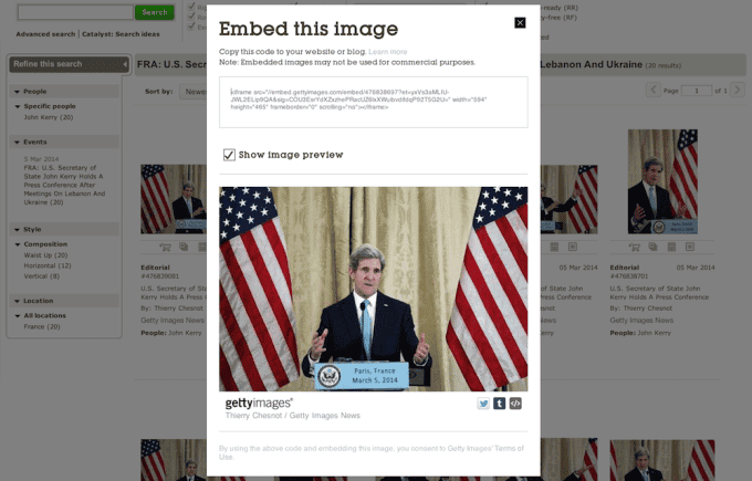 Getty image embedding dialog