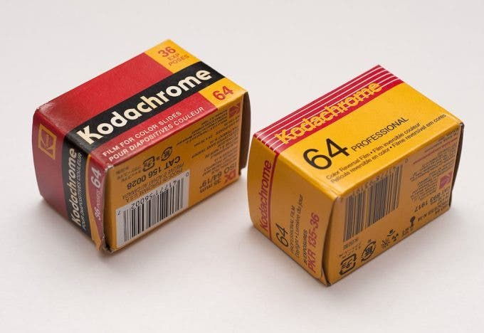 Boxes of Kodachrome 64 film in 135 format. (Credit: Metroplex on Wikimedia Commons)