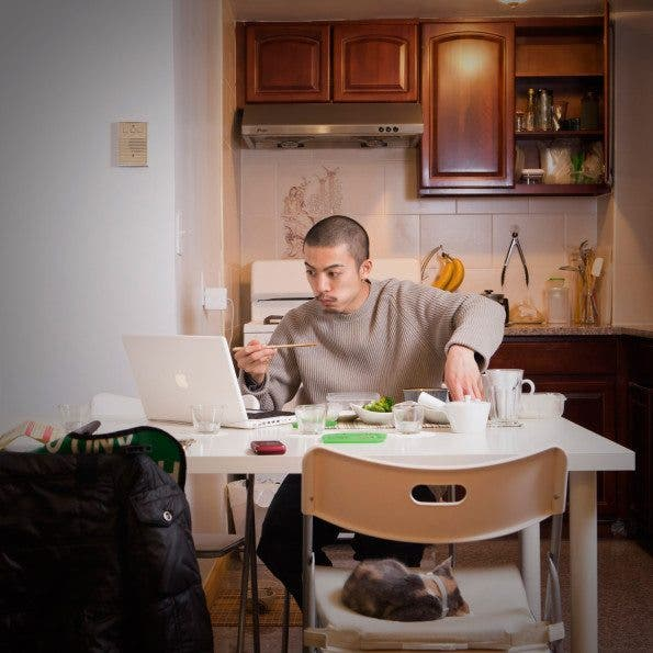 Garro Heedae, a musician has dinner late at night after intensive drum rehearsal sessions. Age: 28   Time: 1:20 AM  Location: Vinegar Hill, Brooklyn