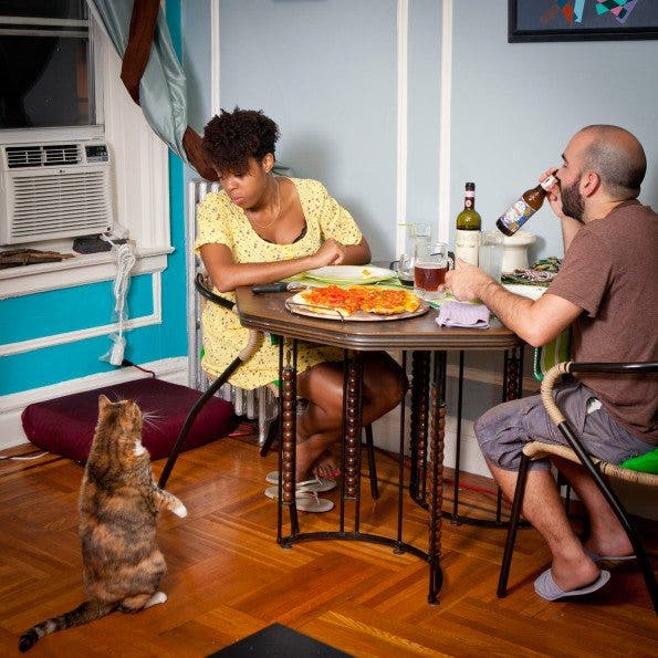Kimberly Cherubin and Gregory Santos, wife and husband often stay late at offices on weekdays but try to have dinner together as much as possible, usually accompanied by their cat, Tigerlilli. Age: Kimberly 31, Gregory 31 Time: 9:06 PM Location: Inwood, New York
