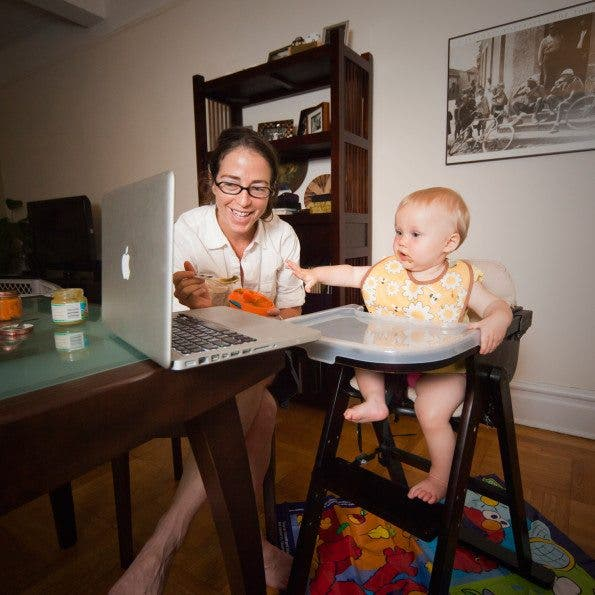 Avina Christie, a 9-month old baby has dinner with her mother, and through a skype video call shares the time with her grandparents who live in Boston. Age: Avina 9 Months Time: 6:57 PM  Location: Upper West, New York