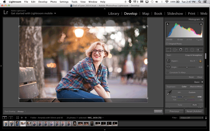 Cinematic images crop in lightroom