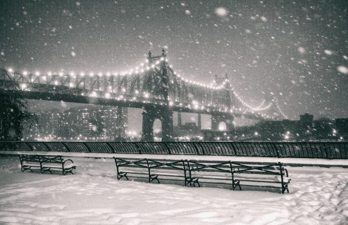 new york city - snow - janus - queensboro bridge view from sutton place