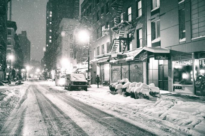 new york city - snow - ludlow street at night