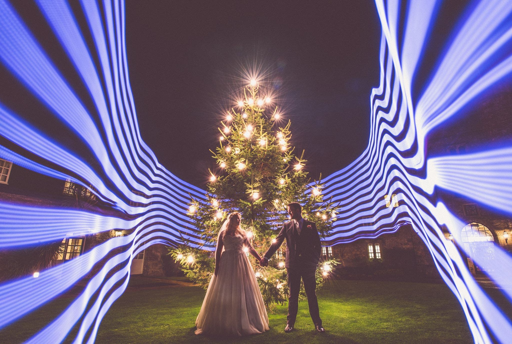 Light Painting Wedding Photography: Wedding Portrait By Nick Murray Uses Creative Light Painting