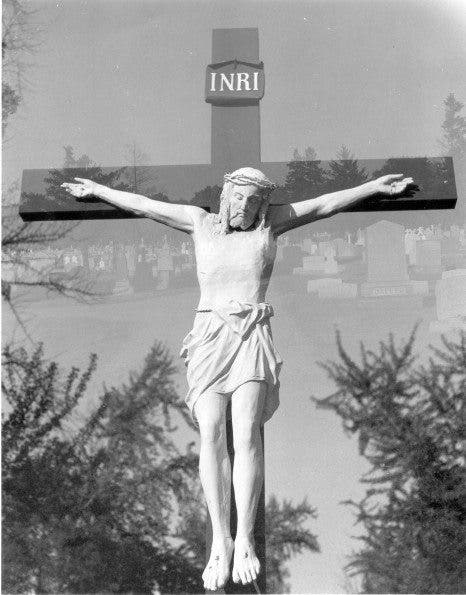 Jesus double exposure in camera med format w: graveyard Cherry Hill NJ copy