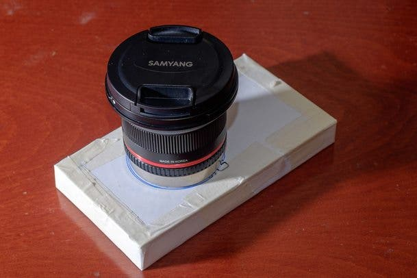 This is my finished test instrument. It was originally the box that my Samsung phone come with. In the pic, I have the Samyang 12mm f/2 lens mounted.