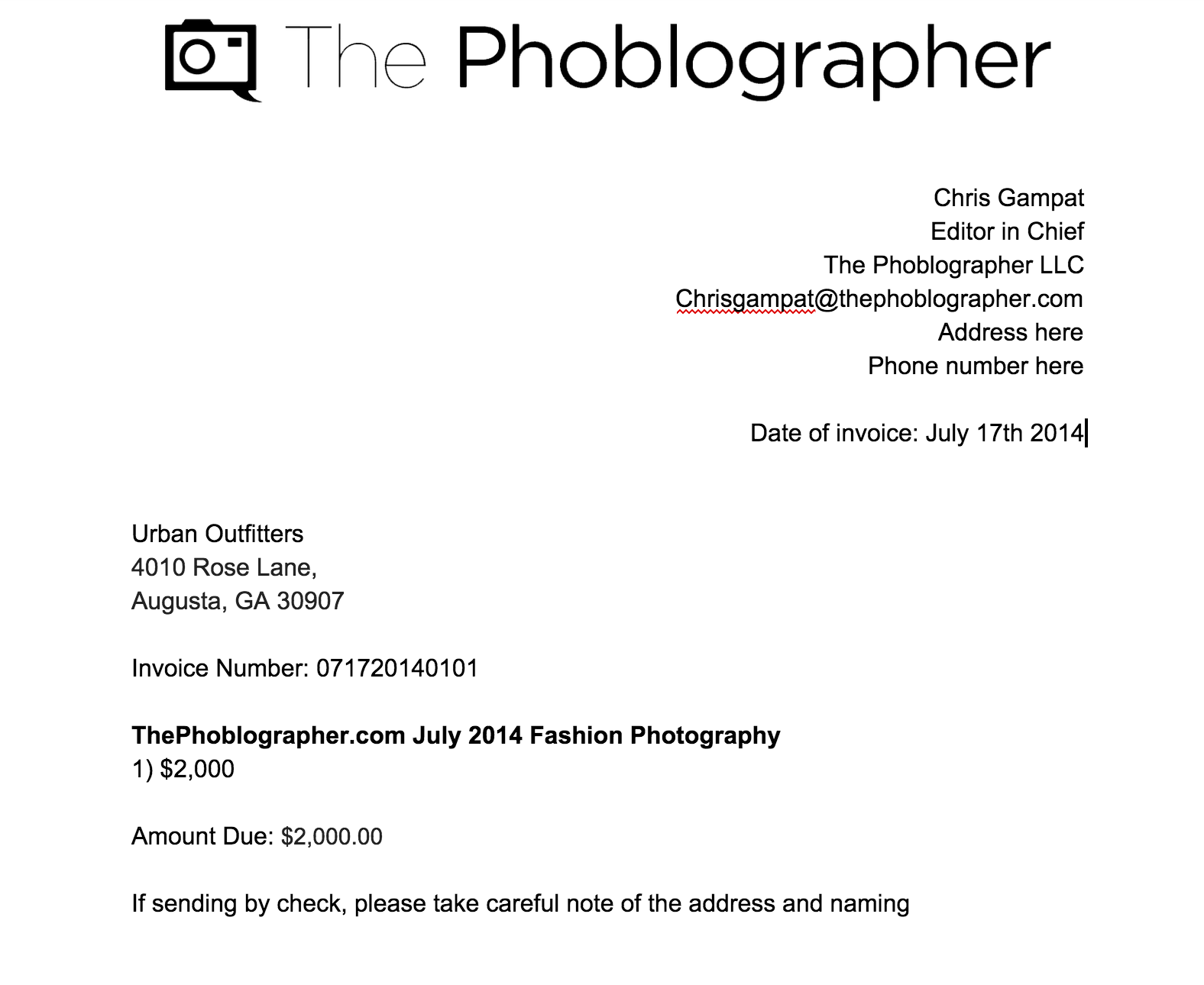 how to send an invoice for your photography