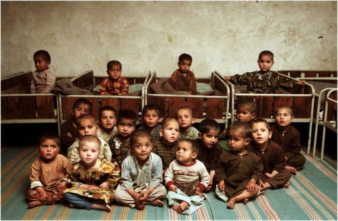Orphans in Kabul's largest orphanage. I was in Afghanistan on my own in 1996 doing a story on a newly formed religious group referred to as the Taliban. ©Thomas James Hurst - 1996