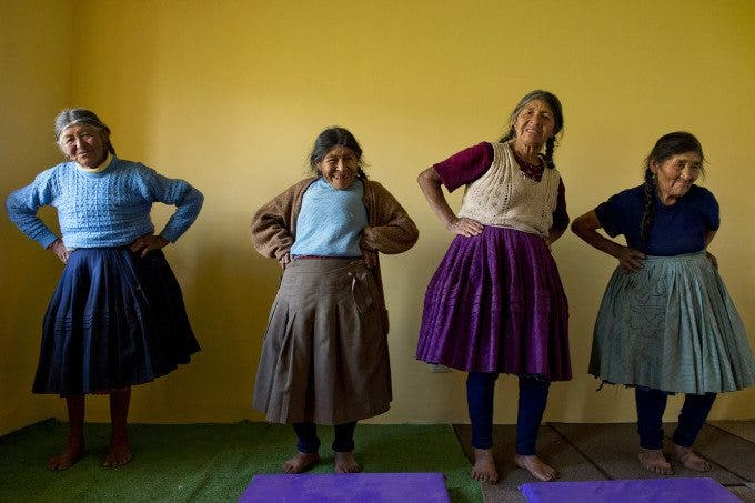 Physical therapy is part of the Peruvian's government program for elderly 65 and older. Here women attend a session in Chara, San Pablo, Cusco. Photo by Oscar Durand