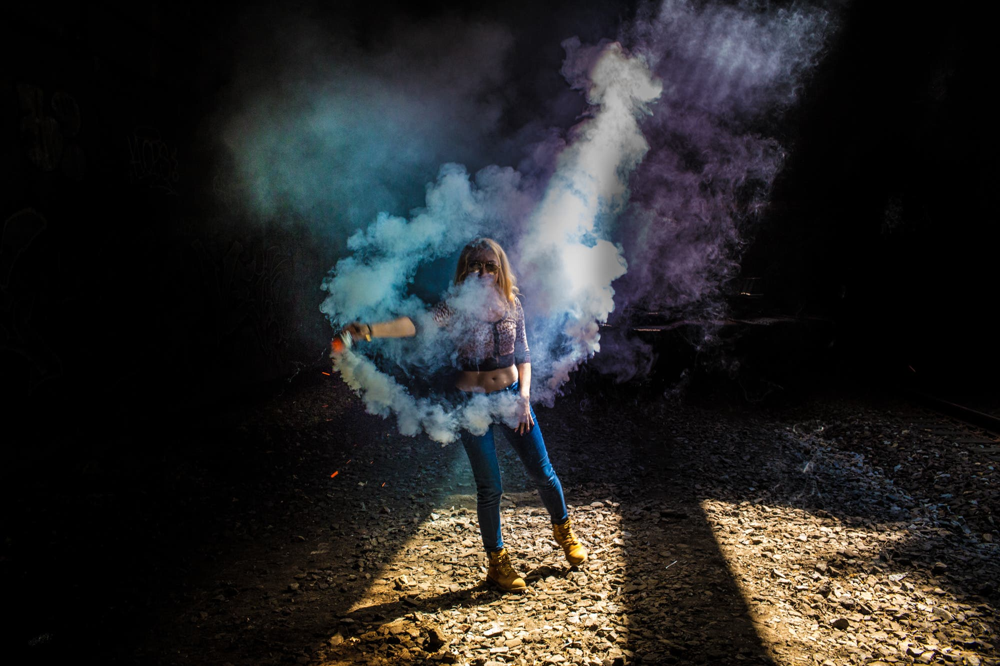 shooting dancers and colored smoke bombs under nyc