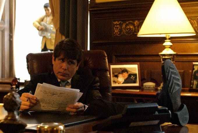 Beleaguered Illinois Governor Rod Blagojevich prepares notes in his final act in the governor's office in Springfield before speaking in his own defense at his impeachment hearing at the state capitol in Springfield, Illinois on January 29, 2009.  Blagojevich said he rarely sticks to his notes but uses them for support and back-up. Photo by Amanda Rivkin