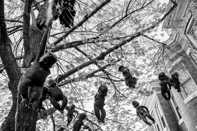 Black baby dolls hang from a tree in Baltimore, Maryland on April 28, 2015, the day after a night of clashes between police and protestors over the death of Freddie Gray, a 25-year-old black man who died in police custody.