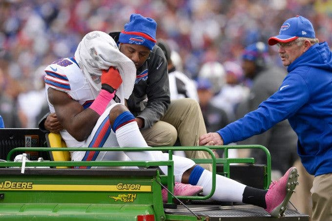Buffalo Bills running back C.J. SPILLER (28) covers his head while being carted to the locker room following an injury in the second quarter against the Minnesota Vikings at Ralph Wilson Stadium in Orchard Park, NY. Minnesota leads Buffalo 13-10 at the half.
