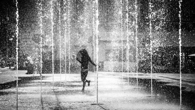 Dancing in the water - Valletta, Malta - Black and white street