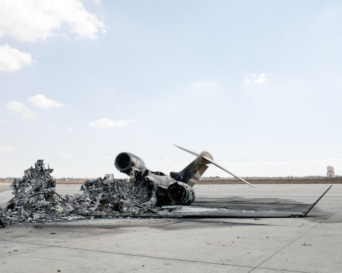 LIBYA. Tripoli Airport. September 2014. Aftermath of the fighting between Zintan brigades and Libya Dawn.