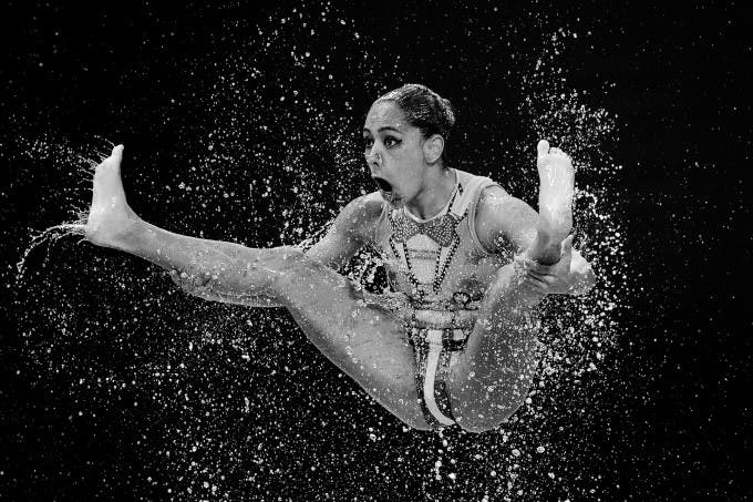 KAZAN, RUSSIA - JULY 28: (EDITORS NOTE: Image has been converted to black and white.) A member of the Mexico team competes in the Women's Team Free Synchronised Swimming Preliminary on day four of the 16th FINA World Championships at the Kazan Arena on July 28, 2015 in Kazan, Russia.  (Photo by Matthias Hangst/Getty Images) :© Matthias Hangst, Germany, Shortlist, Professional , Sport, 2016 Sony World Photography Awards /  Getty Images