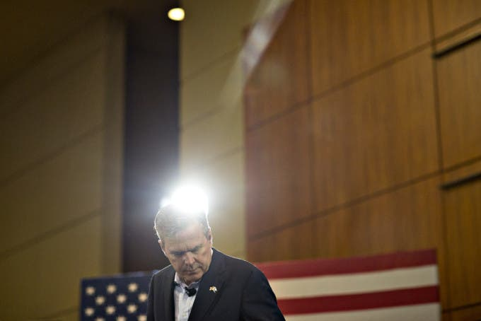 Jeb Bush, former Governor of Florida and 2016 Republican presidential candidate, speaks during a town hall event at the Columbia Metropolitan Convention Center in Columbia, South Carolina, U.S., on Thursday, Feb. 18, 2016. Photographer: Daniel Acker/Bloomberg