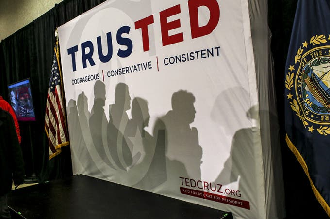 The shadows of people heading in to hear Republican presidential candidate, Sen. Ted Cruz, R-Texas, speak at a town hall meeting at Lancaster School in Salem, New Hampshire Friday, Feb. 5, 2016. CREDIT: Cheryl Senter for The New York Times