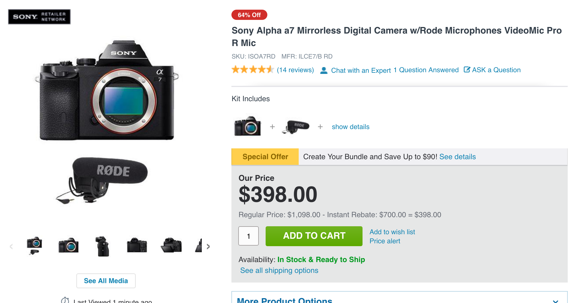 Guess What? You're Not Getting that $400 Sony a7 Afterall…