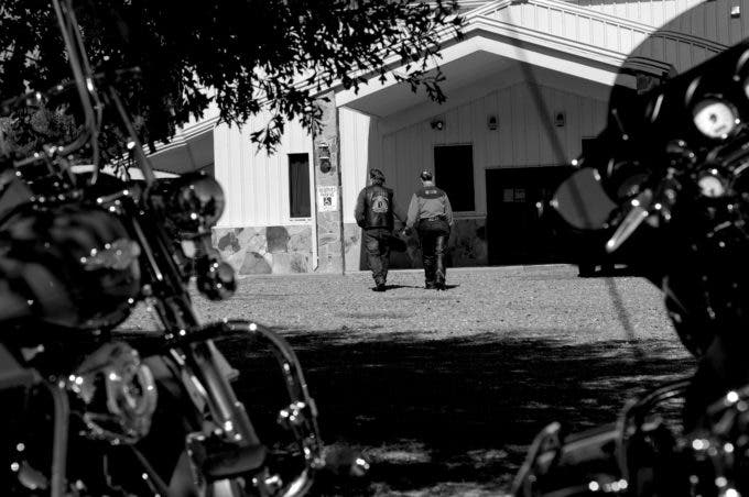 Photo by Christena Dowsett Bikers attend a revival in Kilgore, Texas.