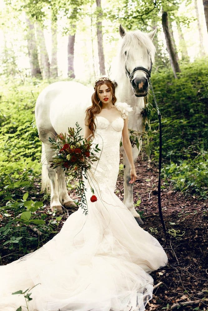 This Magical And Gorgeous Bridal Session Involves A White Horse